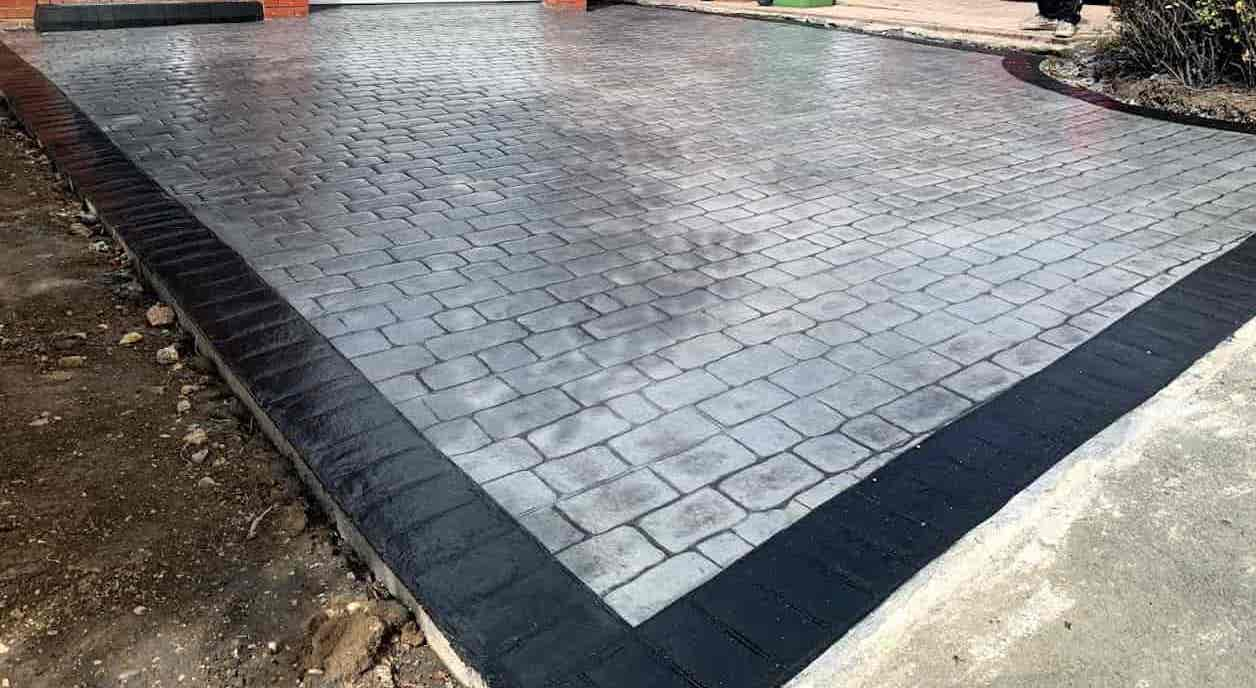 Grey Pattern Imprinted Concrete Driveway North East