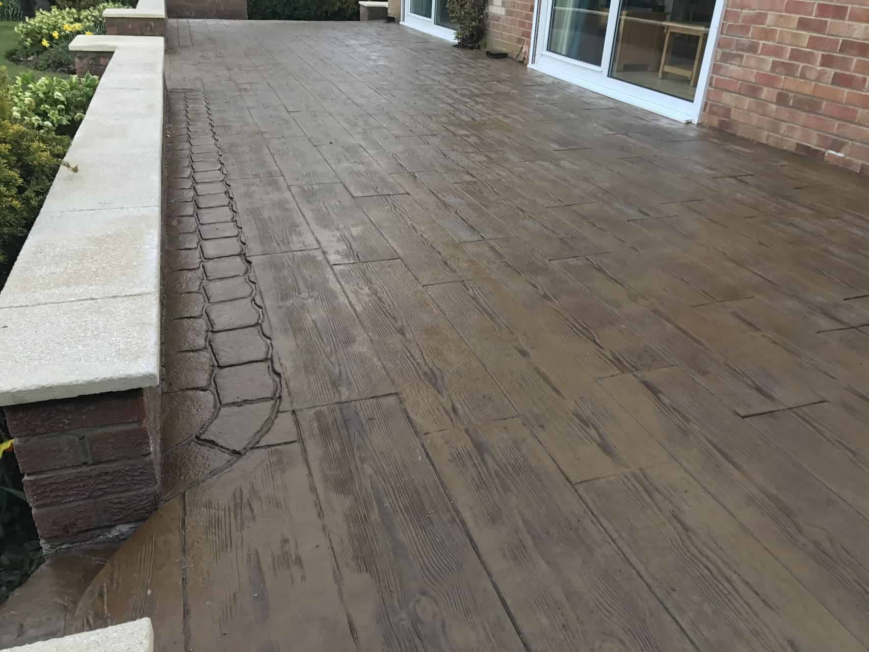Wood Effect Imprinted Concrete Patio North East